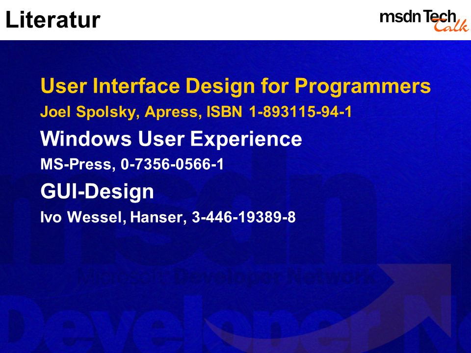 Literatur User Interface Design for Programmers