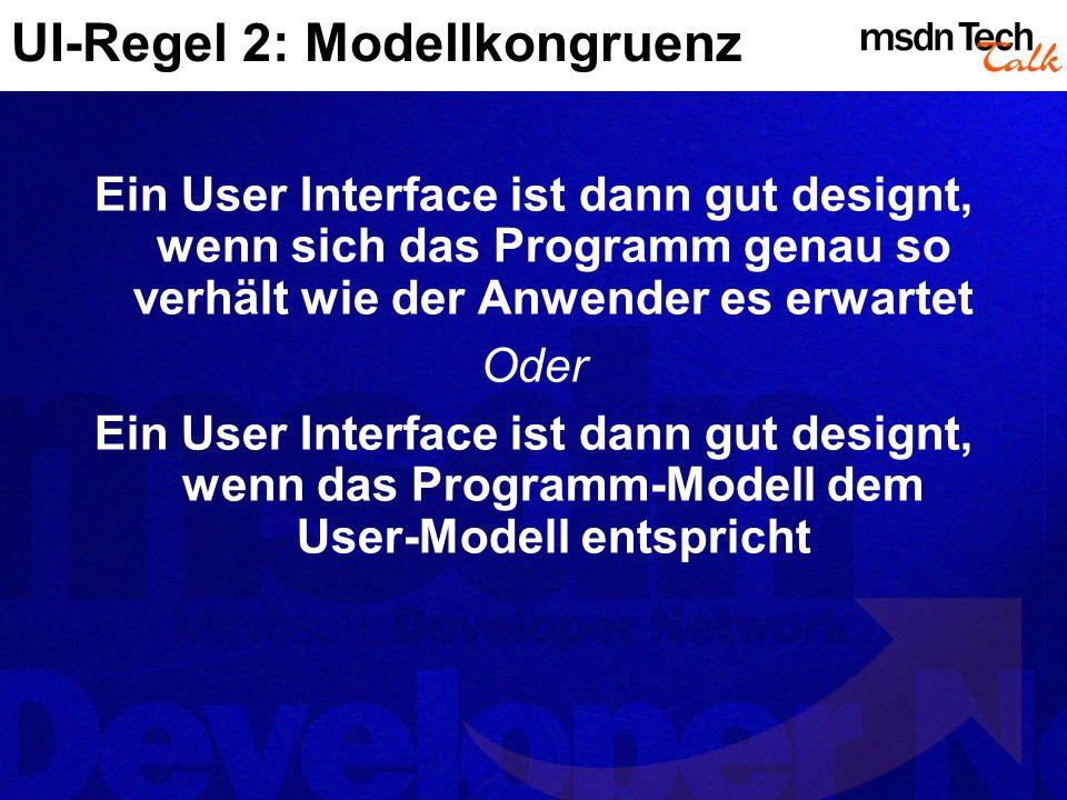 UI-Regel 2: Modellkongruenz