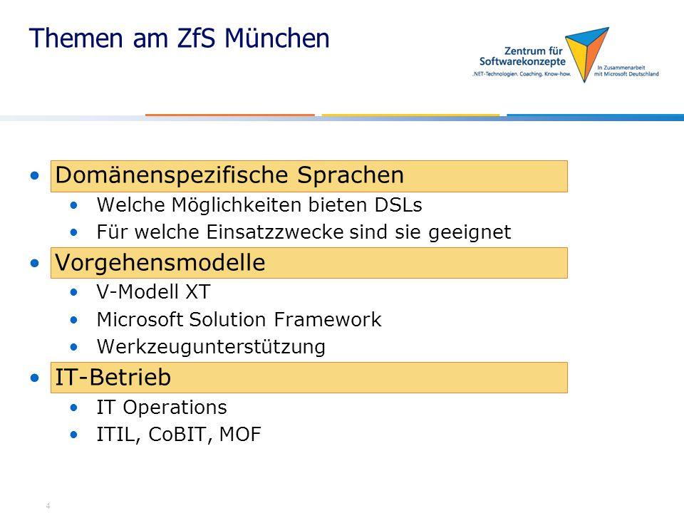 Themen am ZfS München Domänenspezifische Sprachen Vorgehensmodelle