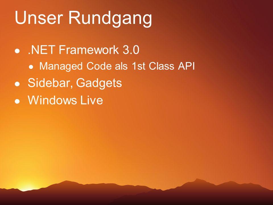 Unser Rundgang .NET Framework 3.0 Sidebar, Gadgets Windows Live