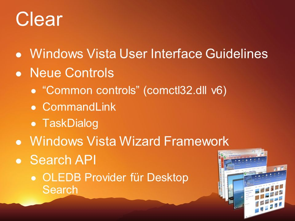 Clear Windows Vista User Interface Guidelines Neue Controls