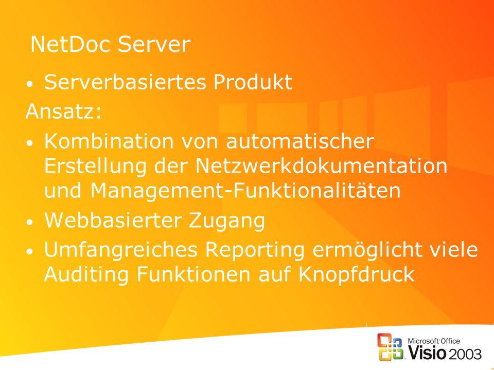 NetDoc Server Serverbasiertes Produkt Ansatz: