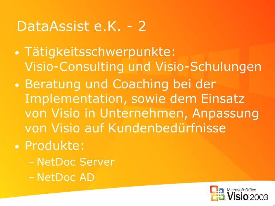 DataAssist e.K. - 2Tätigkeitsschwerpunkte: Visio-Consulting und Visio-Schulungen.