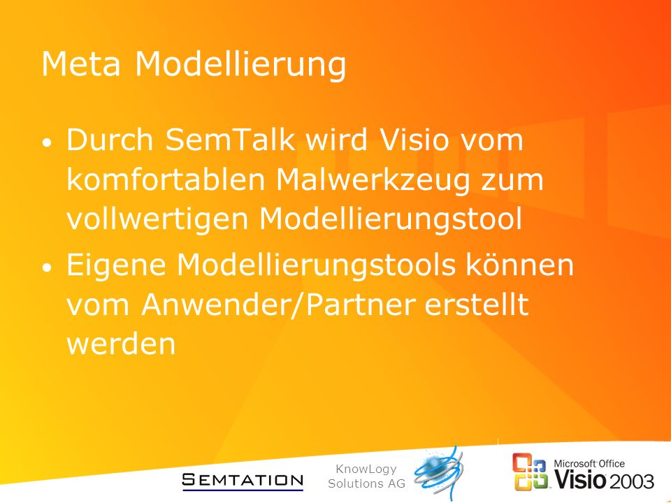 Meta Modellierung Durch SemTalk wird Visio vom komfortablen Malwerkzeug zum vollwertigen Modellierungstool.