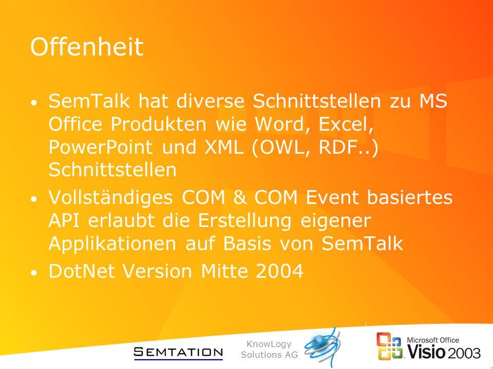 Offenheit SemTalk hat diverse Schnittstellen zu MS Office Produkten wie Word, Excel, PowerPoint und XML (OWL, RDF..) Schnittstellen.