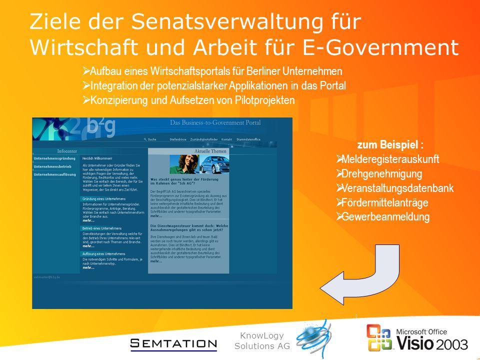 Ziele der Senatsverwaltung für Wirtschaft und Arbeit für E-Government