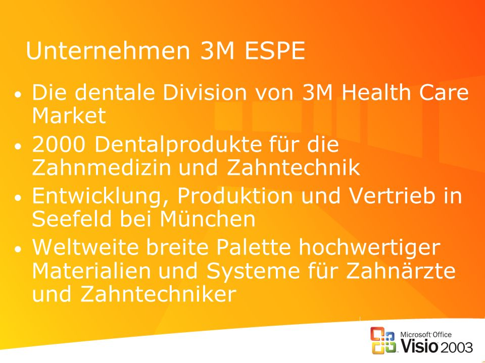 Unternehmen 3M ESPE Die dentale Division von 3M Health Care Market