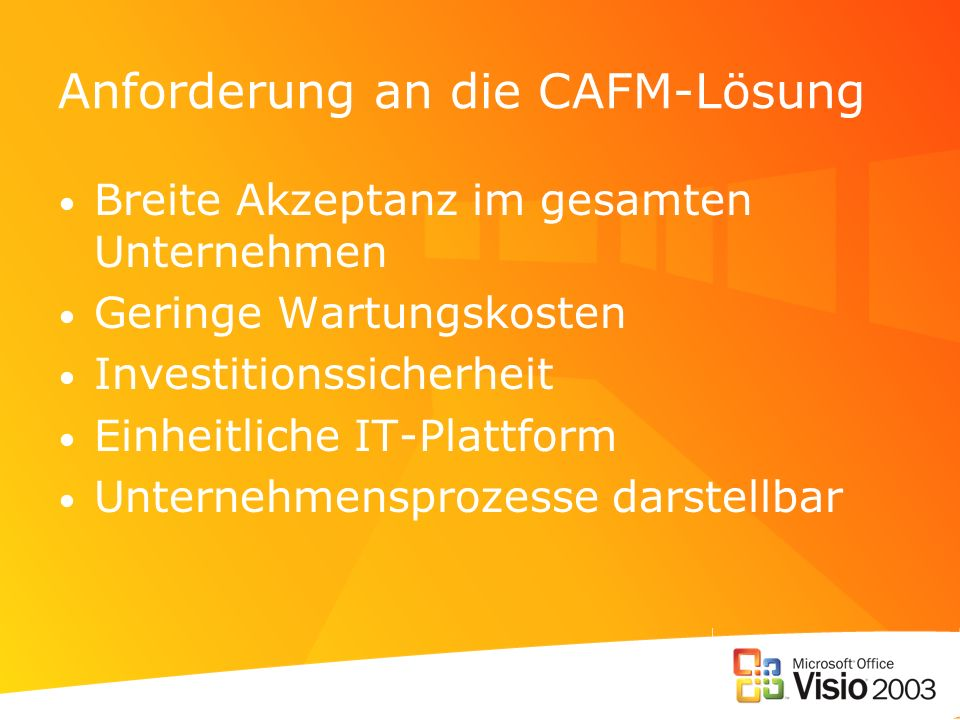 Anforderung an die CAFM-Lösung