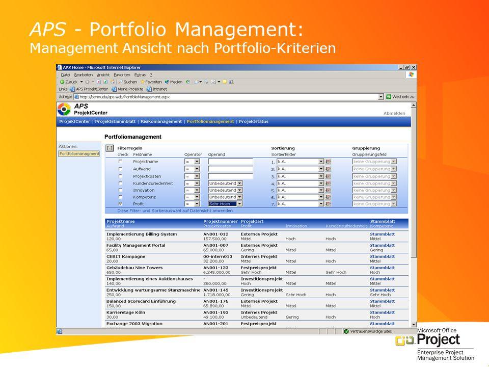 APS - Portfolio Management: Management Ansicht nach Portfolio-Kriterien