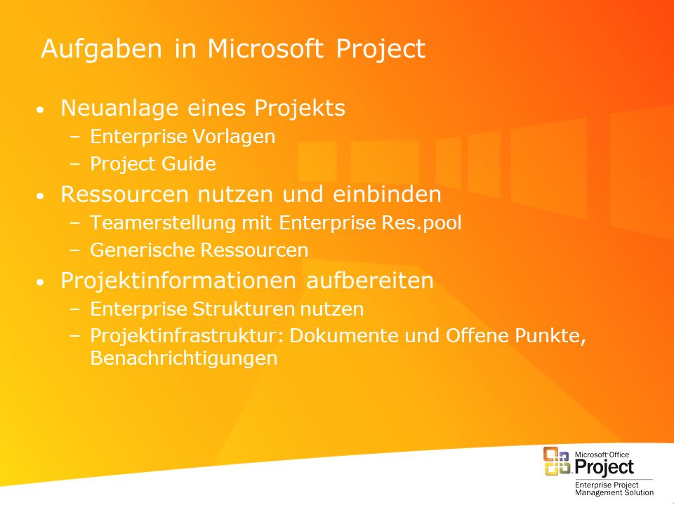 Aufgaben in Microsoft Project