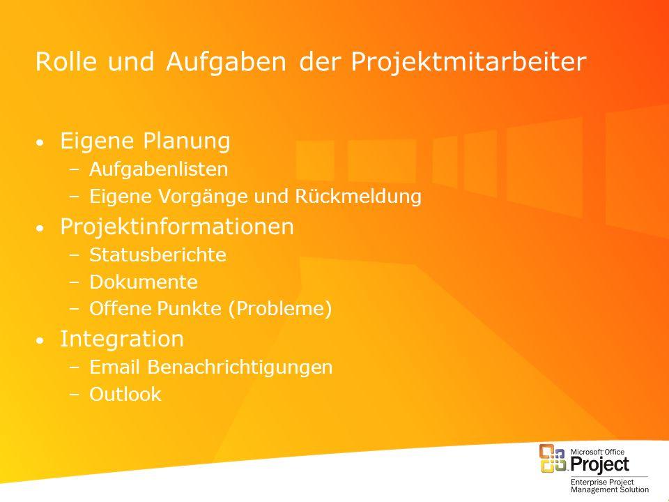 Rolle und Aufgaben der Projektmitarbeiter