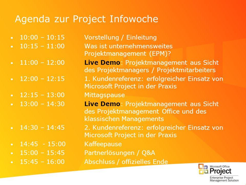 Agenda zur Project Infowoche