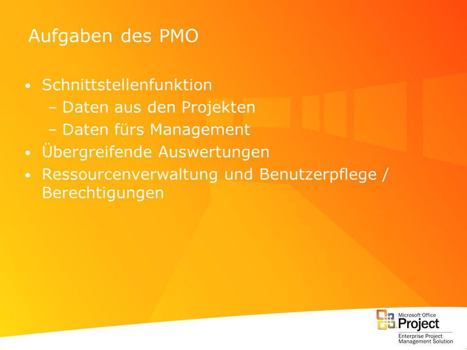 Aufgaben des PMO Schnittstellenfunktion Daten aus den Projekten
