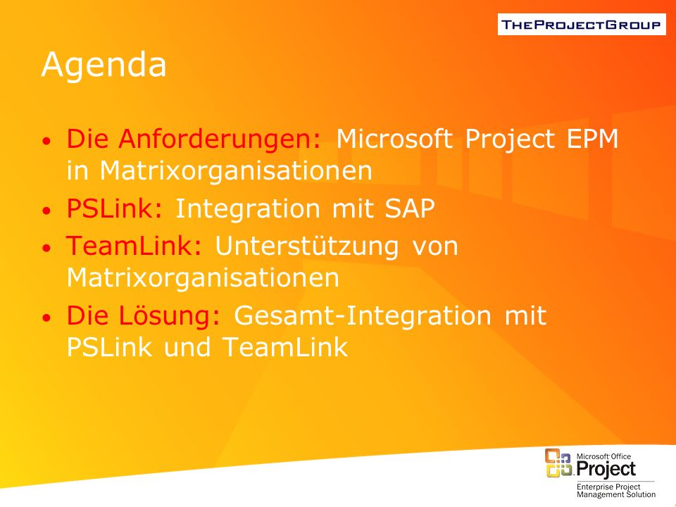 Agenda Die Anforderungen: Microsoft Project EPM in Matrixorganisationen. PSLink: Integration mit SAP.