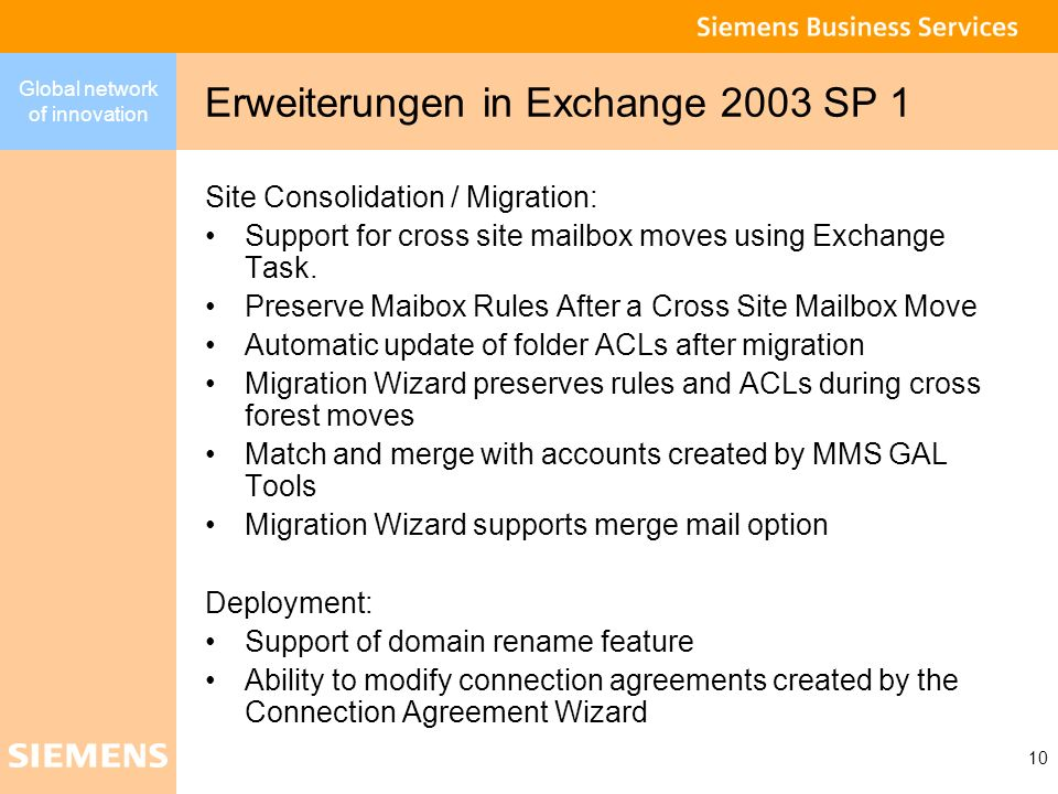 Erweiterungen in Exchange 2003 SP 1