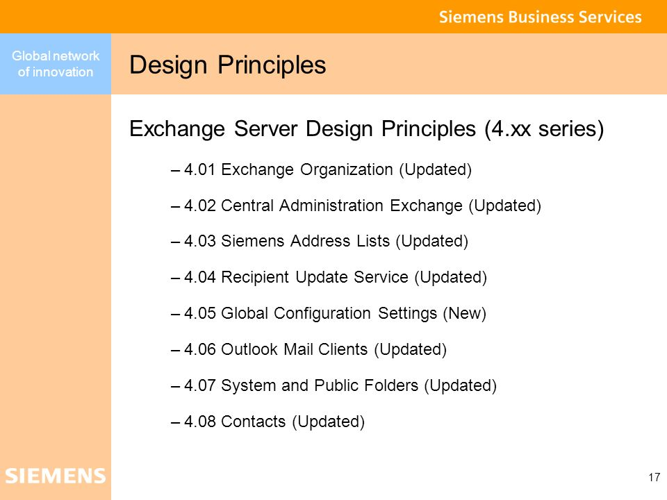 Design Principles Exchange Server Design Principles (4.xx series)