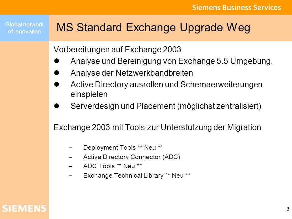 MS Standard Exchange Upgrade Weg