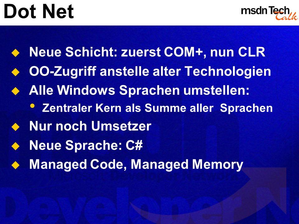Dot Net Neue Schicht: zuerst COM+, nun CLR
