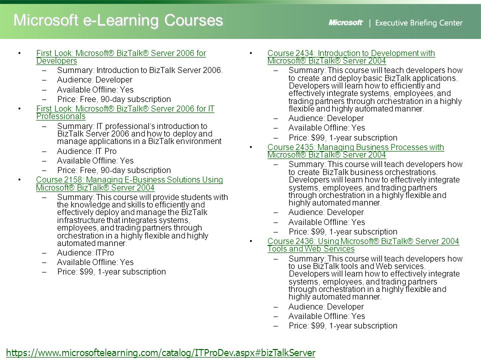 Microsoft e-Learning Courses