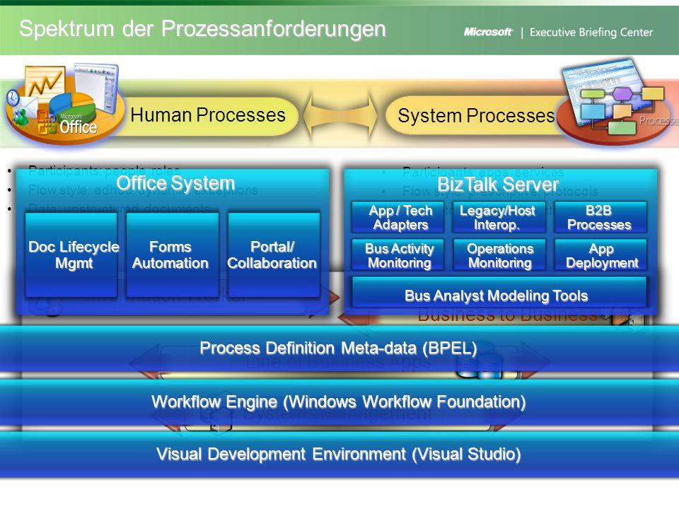 Spektrum der Prozessanforderungen