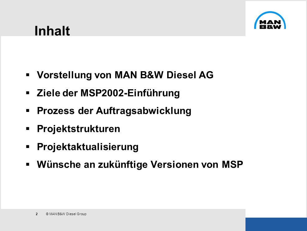 Inhalt Vorstellung von MAN B&W Diesel AG Ziele der MSP2002-Einführung