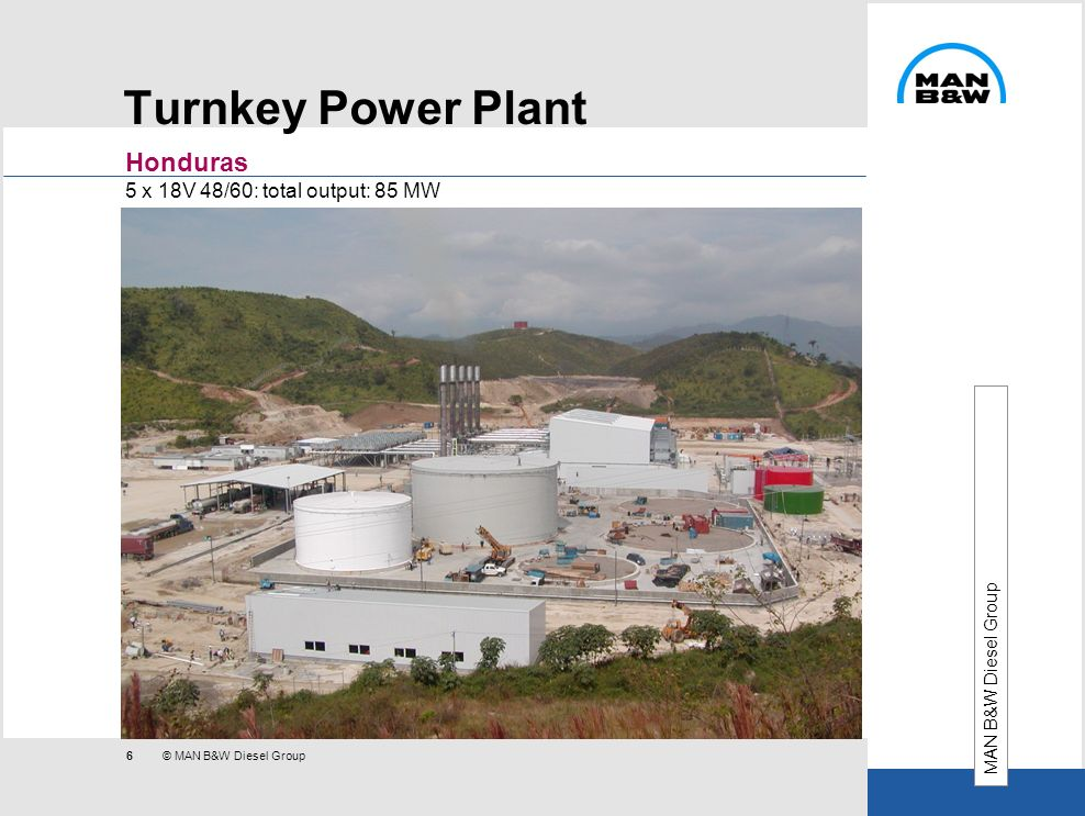 Turnkey Power Plant Honduras 5 x 18V 48/60: total output: 85 MW