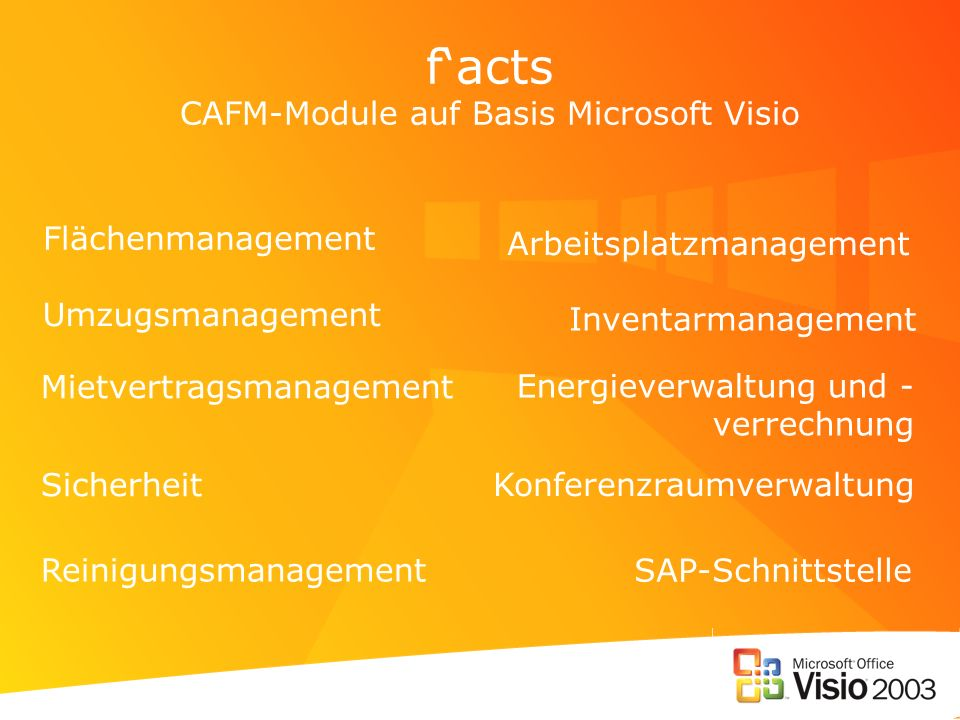 f'acts CAFM-Module auf Basis Microsoft Visio