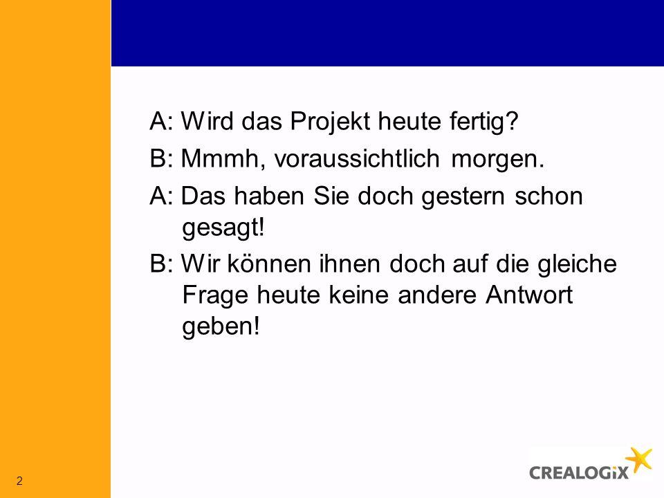 A: Wird das Projekt heute fertig. B: Mmmh, voraussichtlich morgen