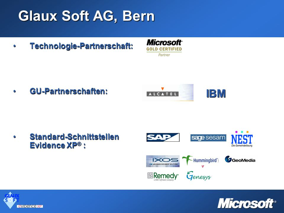 Glaux Soft AG, Bern IBM IBM Technologie-Partnerschaft: