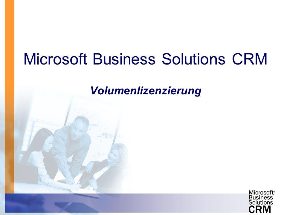 Microsoft Business Solutions CRM Volumenlizenzierung
