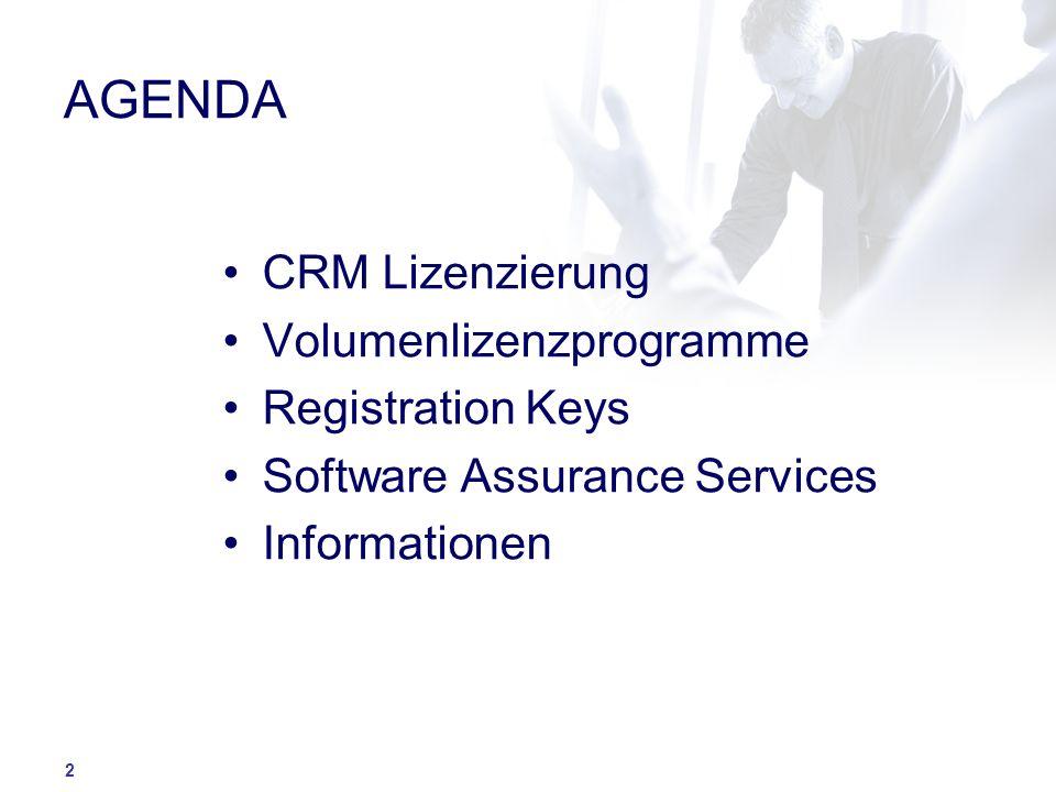 AGENDA CRM Lizenzierung Volumenlizenzprogramme Registration Keys