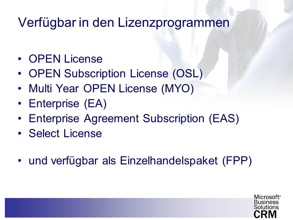 Verfügbar in den Lizenzprogrammen