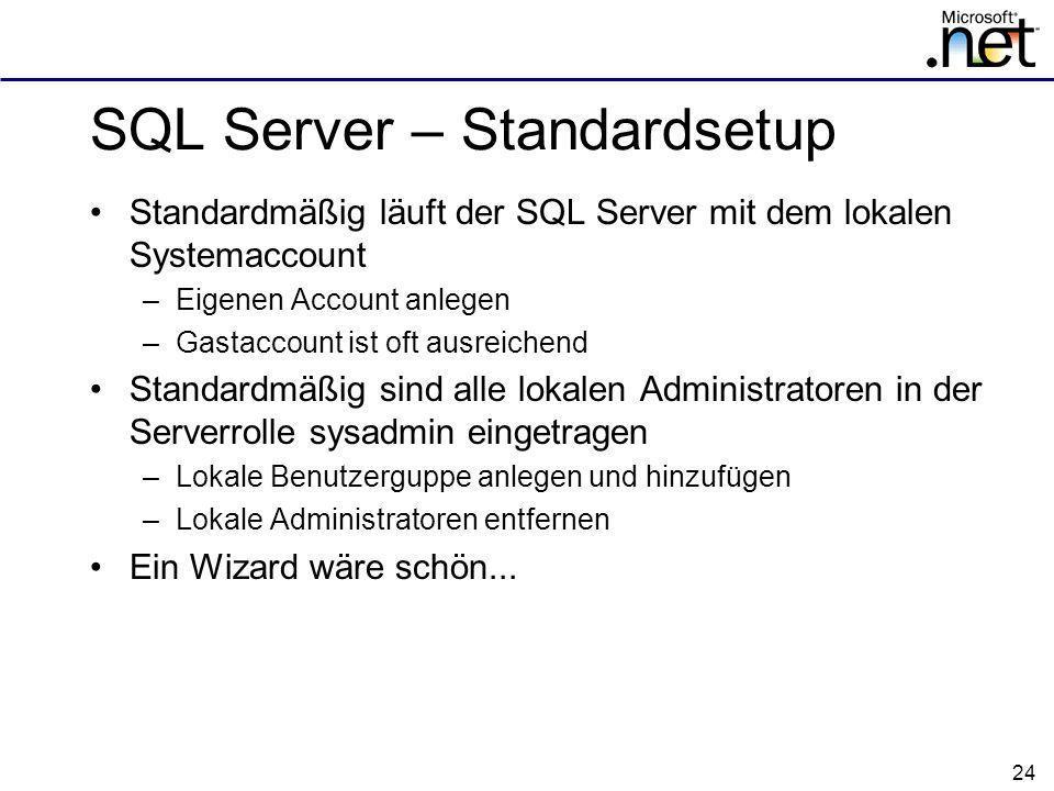 SQL Server – Standardsetup