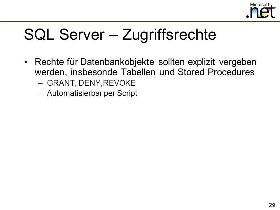 SQL Server – Zugriffsrechte