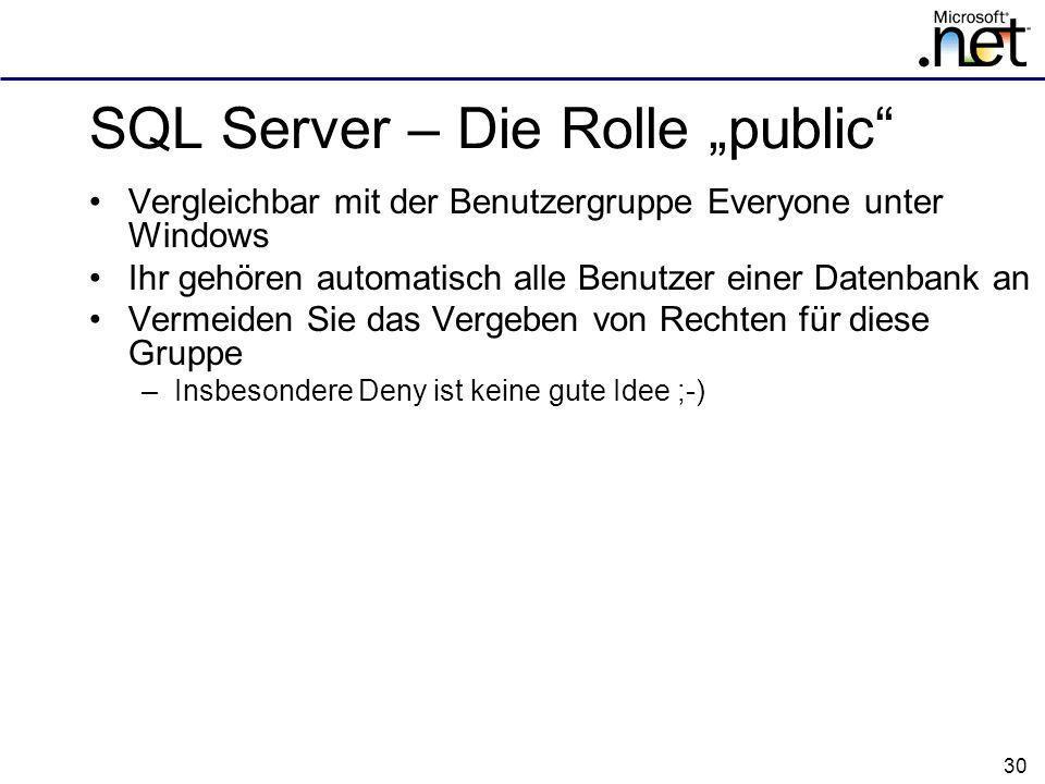 "SQL Server – Die Rolle ""public"