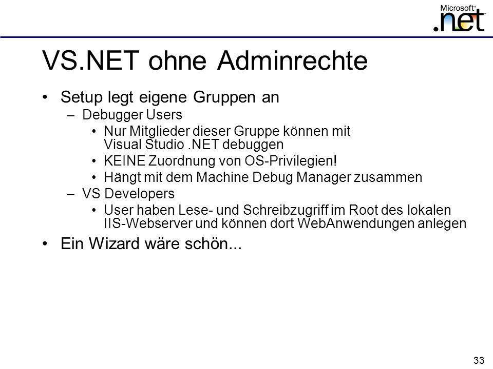 VS.NET ohne Adminrechte