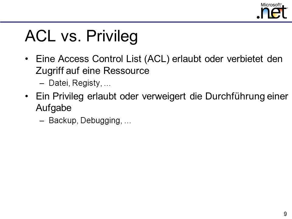 ACL vs. Privileg Eine Access Control List (ACL) erlaubt oder verbietet den Zugriff auf eine Ressource.