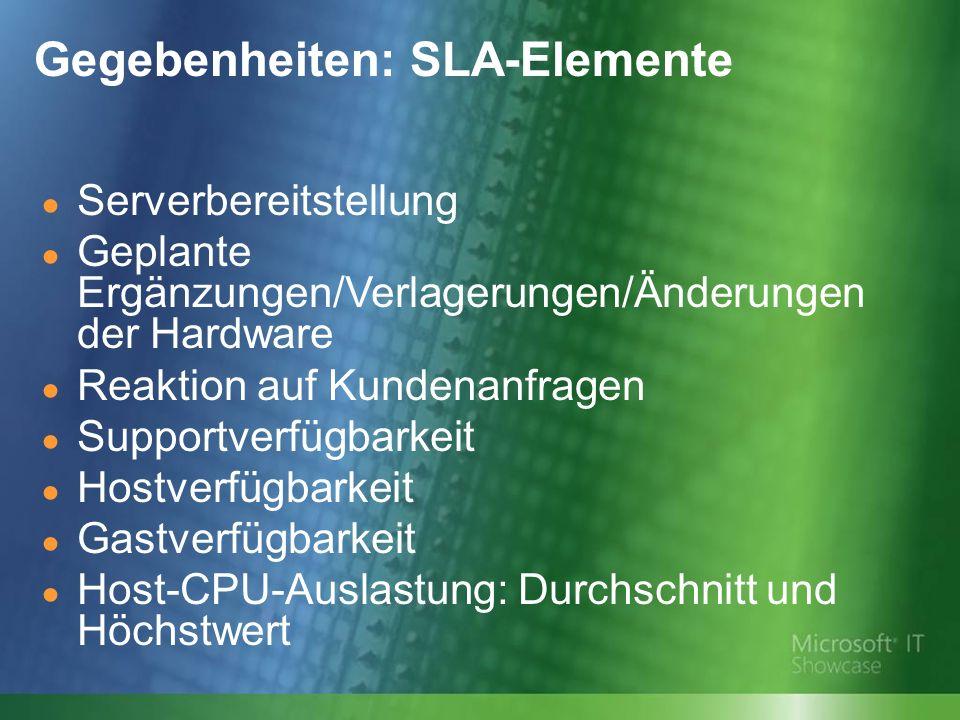 Gegebenheiten: SLA-Elemente
