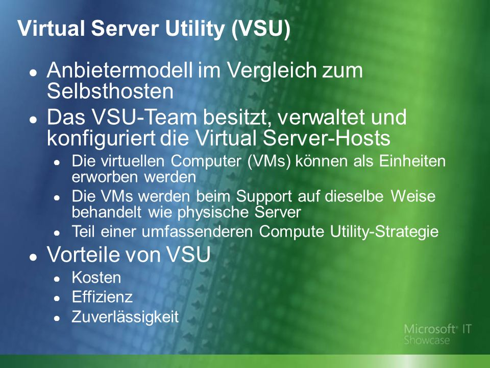 Virtual Server Utility (VSU)