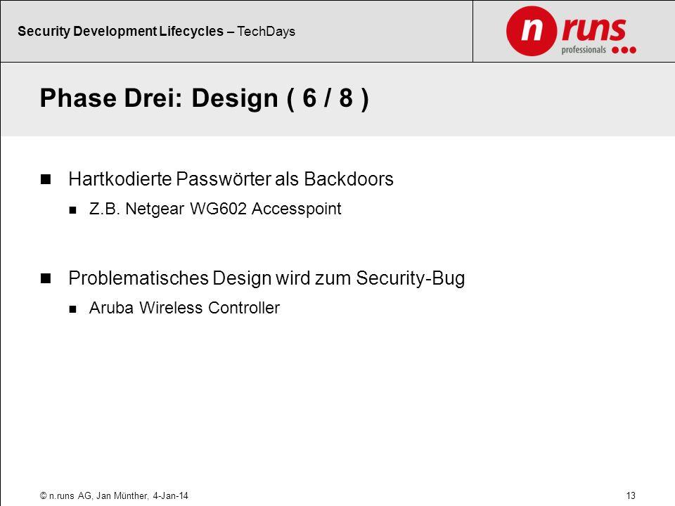 Phase Drei: Design ( 6 / 8 ) Hartkodierte Passwörter als Backdoors