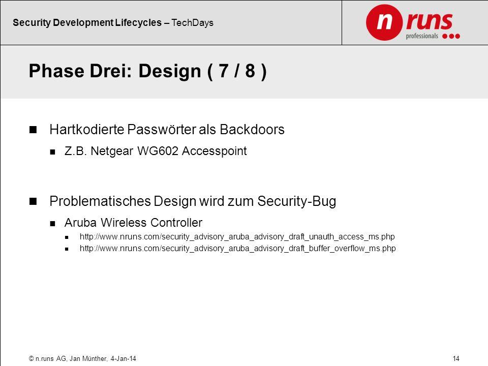 Phase Drei: Design ( 7 / 8 ) Hartkodierte Passwörter als Backdoors
