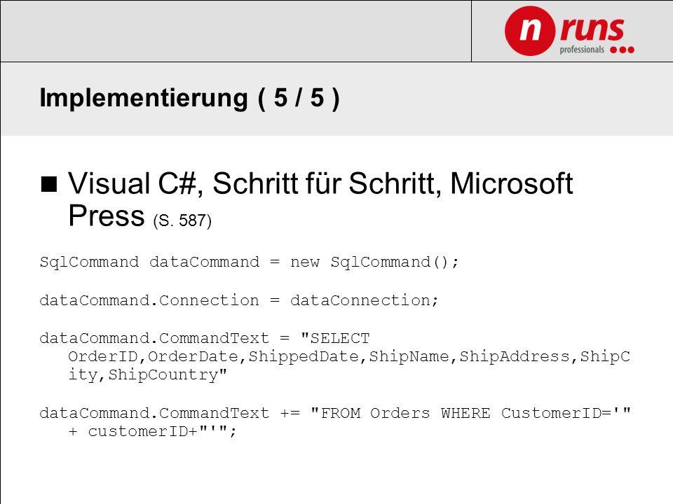 Visual C#, Schritt für Schritt, Microsoft Press (S. 587)