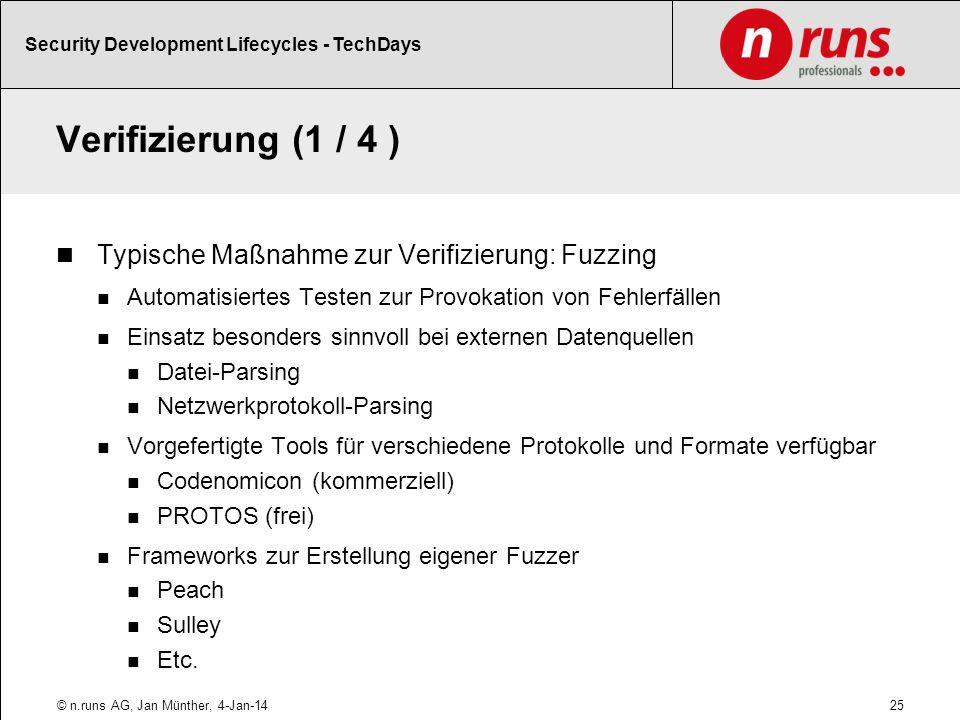 Verifizierung (1 / 4 ) Typische Maßnahme zur Verifizierung: Fuzzing