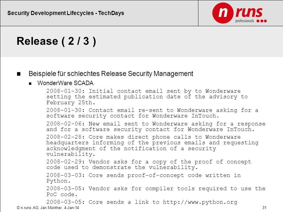 Release ( 2 / 3 ) Beispiele für schlechtes Release Security Management