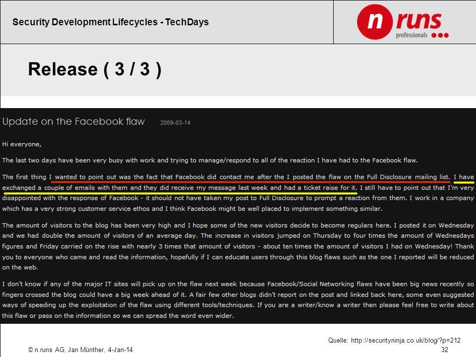Release ( 3 / 3 ) Beispiele für schlechtes Release Security Management