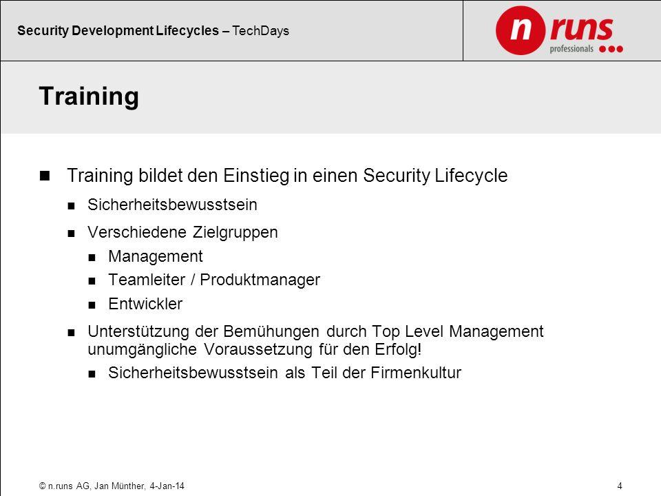 Training Training bildet den Einstieg in einen Security Lifecycle