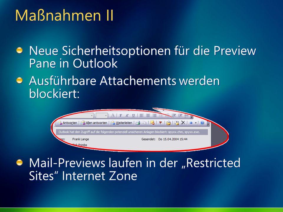 Maßnahmen II Neue Sicherheitsoptionen für die Preview Pane in Outlook
