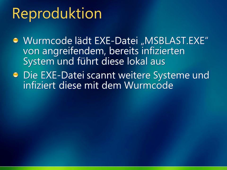 """ReproduktionWurmcode lädt EXE-Datei """"MSBLAST.EXE von angreifendem, bereits infizierten System und führt diese lokal aus."""