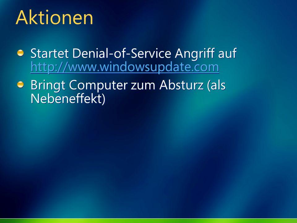 Aktionen Startet Denial-of-Service Angriff auf http://www.windowsupdate.com.